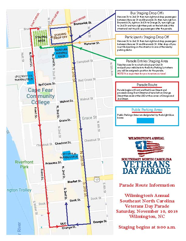 Parade Route for the Veterans Day Parade in Wilmington, NC