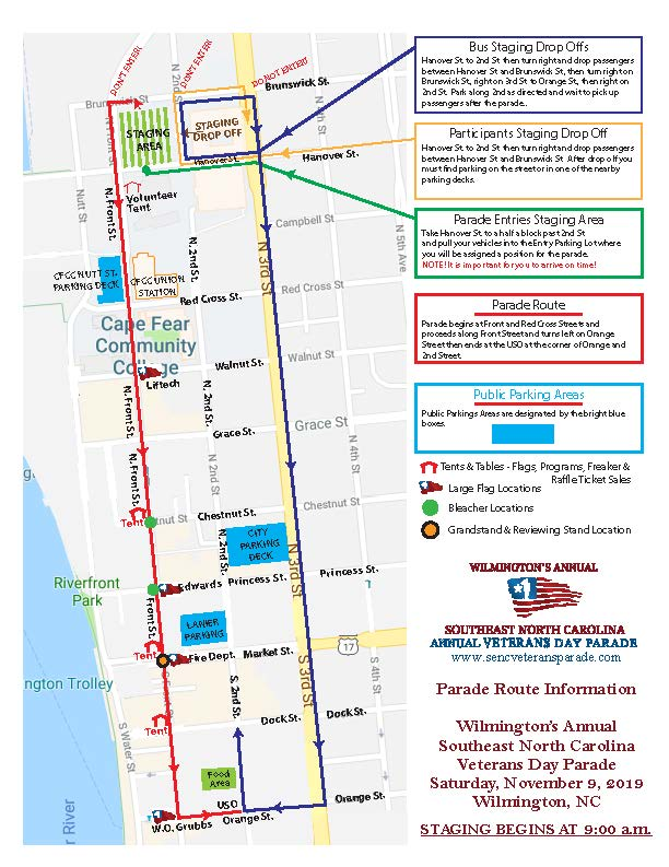Parade Route for the Veterans Day Parade in Wilmington, NC on map of historic southport nc, map of historic downtown new bern nc, map of historic downtown huntsville al,